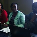 Quelques participants francophones, Marie-Noëlle Guichi du Cameroun, Aline Assankpon du Bénin et Abdoulaye Barry du Sénégal