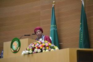 President Sirleaf  addressing 29th AU Assambly in Addis Ababa