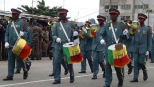 Ph/ DR-: L'orchestre de la Gendarmerie qui a accompagné militaire et paramilitaire