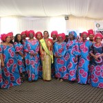 ECOWAS staff flanking Mrs Brou after her investiture