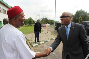 Ph:DR-: Jean-Claude Kassi Brou, President of the ECOWAS Commission ( r)  being received by Hon. Minister of Science and Technology of Nigeria, Dr.  Ogbonanya Onu on arrival at the NASRDA Headquarters.