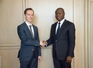 Ph:DR: M. Luc Eyraud, chef de mission du FMI au Bénin et M. Romuald Wadagni, ministre de l'Economie et des Finances.