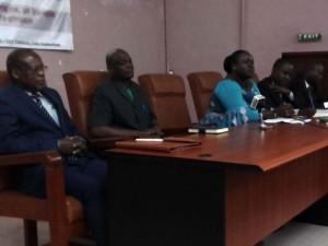Ph: DR- (De gauche à droite) Prof Barthélémy BIAO, Dr Théophile Dagba DGA/ENEAM, Abriel Voglozin Hinson, Directrice du Commerce extérieur et Dr Dieudonné C. Assouvi, spécialiste de l'Economie politique internationale.