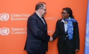Ph: Dr-M. Luca Jahier, Président du Comité économique et social européen (UE-CESE) à la tête d'une délégation reçu par la Secrétaire exécutif de la Commission économique pour l'Afrique (CEA), Mme Véra Songwé.