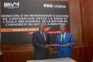 Ph: DR: Directeur Général de la BRVM et du DC/BR, M. Edoh Kossi Amenounvé et Komlan Sedzro, Doyen de l'ESG UQAM
