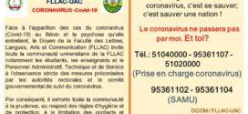 Message du DECANAT – FLLAC -UAC sur le COVID-19